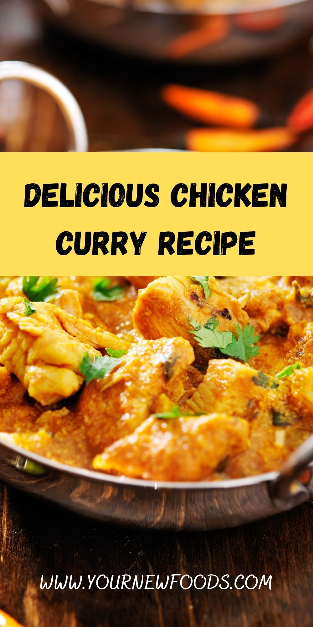 advertising banner showing delicious Chicken Curry Recipe in silver Balti style dishes with bowls of rice on a wooden table