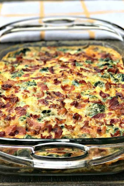Low-Carb Bacon, Egg, and Spinach Keto Breakfast Casseroles