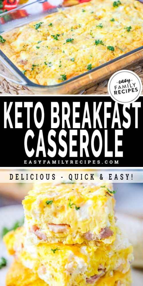 Low Carb Keto Ham and Cheese Breakfast Casserole