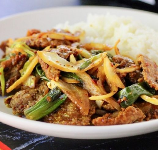 Stir fried beef with onions and spring onions